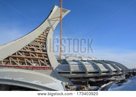 MONTREAL CANADA 02 07 2017. Under repair the Montreal Olympic Stadium  tower. It's the tallest inclined tower in the world.Tour Olympique stands 175 meters tall and at a 45-degree angle