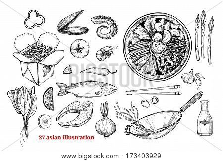 Hand drawn vector illustrations - Wok. Wok box wok pan bibimbap chinese noodles tomato pepper shrimp soy sauce etc. Asian fast food