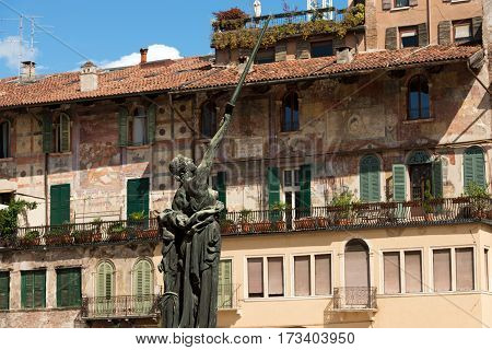 VERONA ITALY - SEPTEMBER 17 2016: War memorial monument dedicated to the dead of World War I (WWI). In memory of the bombardment in Piazza delle Erbe Verona Italy