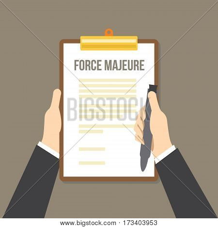 force majeure clause included in contracts to remove liability for unavoidable catastrophes that restrict participants from fulfilling obligations vector illustration