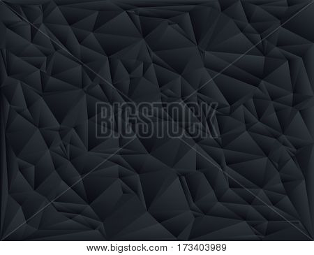 Black polygon abstract triangulated background vector illustration