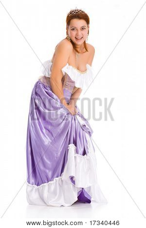 young attractive laughing woman in ball dress. poster