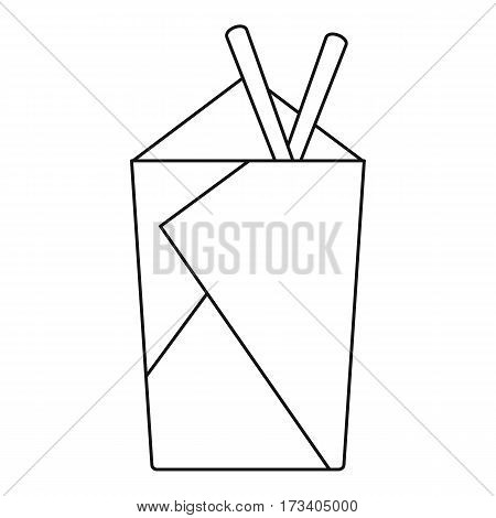 Noodle box with chopsticks icon. Outline illustration of noodle box with chopsticks vector icon for web