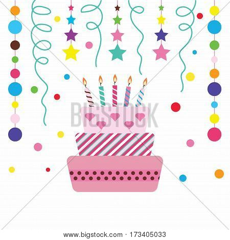 birthday cake with burning candles isolated on white background colorful sweet cake happy birthday holiday confetti cake and garland