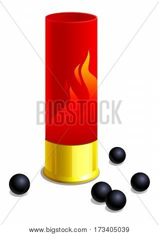 Sleeve of the hunting cartridge. Isolated on white background. Vector illustration