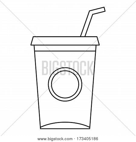 Soft drink cup with straw icon. Outline illustration of soft drink cup with straw vector icon for web