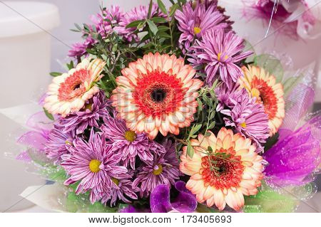 Bouquet Of Large Fresh Orange Gerbera Chamomile And Pink Chrysanthemums