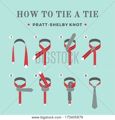 Instructions on how to tie a tie on the turquoise background of the six steps. Pratt-Shelby knot. Vector Illustration
