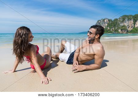 Couple On Beach Summer Vacation, Young People Sitting On Sand, Man Woman Sea Ocean Holiday Travel