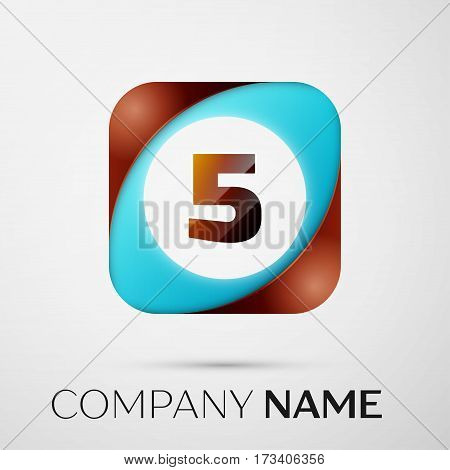 Number five vector logo symbol in the colorful square on grey background. Vector template for your design