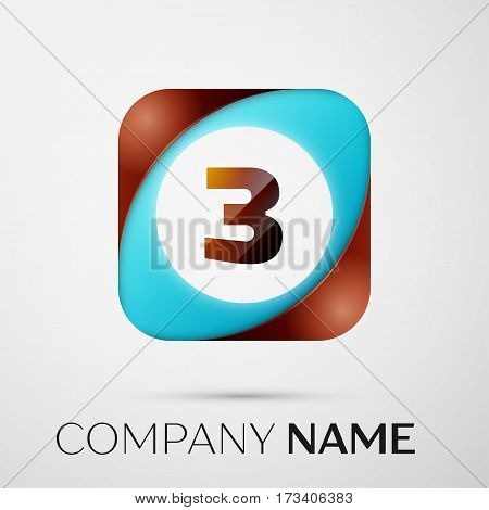 Number three vector logo symbol in the colorful square on grey background. Vector template for your design