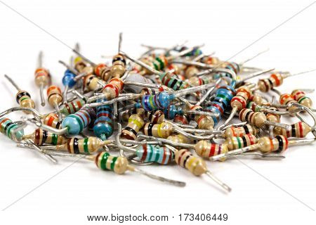Set of resistors on a white background closeup