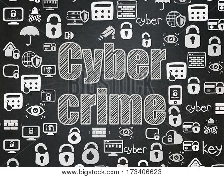 Security concept: Chalk White text Cyber Crime on School board background with  Hand Drawn Security Icons, School Board