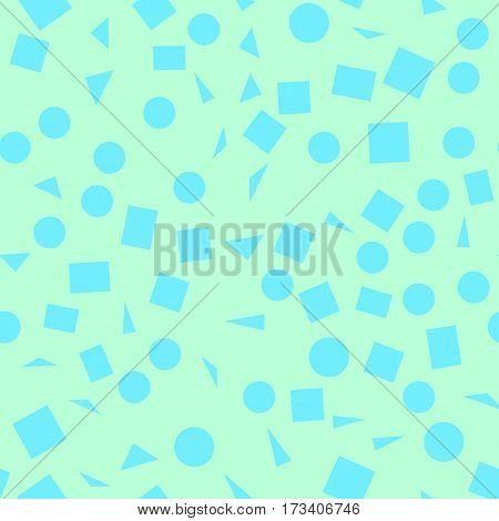 Vector illustration of a seamless pattern of blue simple shapes - squares triangles circles on a light green background.