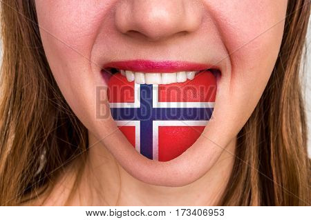 Woman With Norwegian Flag On The Tongue