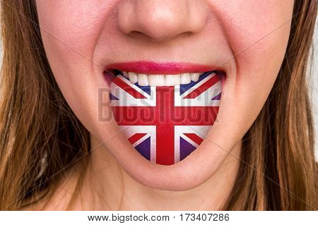 Woman With English Flag On The Tongue