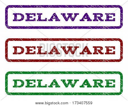 Delaware watermark stamp. Text caption inside rounded rectangle with grunge design style. Vector variants are indigo blue red green ink colors. Rubber seal stamp with dust texture.