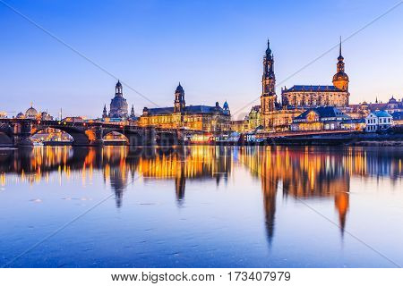 Dresden, Germany. Cathedral of the Holy Trinity (Hofkirche Bruehl's Terrace) at twilight.