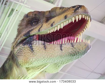 TUCSON, ARIZONA, FEBRUARY 20. The Tucson Expo Center on February 20, 2017, in Tucson, Arizona. A Velociraptor Dinosaur Prowls T-Rex Planet at the Tucson Expo Center in Tucson, Arizona.