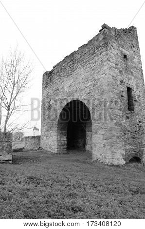A view of a ruined stone tower in Bo'Ness