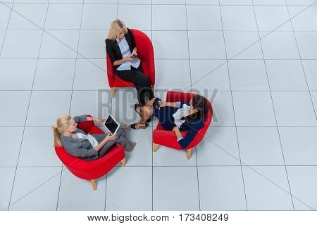 Business Woman Group Sitting In Armchairs Using Gadgets Chatting Online Top Angle View, Businesspeople Colleague Team