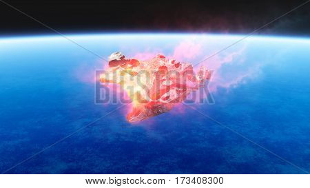 Burning Red Fire Meteorite Falling To Earth