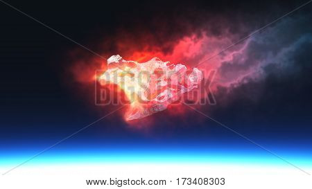 Burning Red Fire Meteorite Falling To Planet