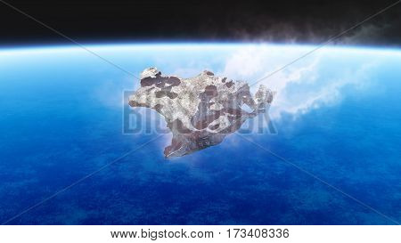 Burning Meteorite Falling To Earth