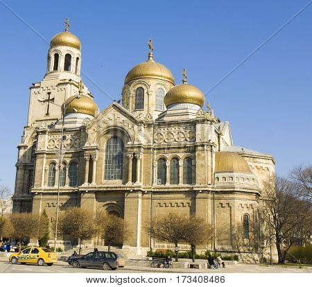 VARNA BULGARIA - APRIL 12 2014: main orthodox cathedral of the town Assumption of the Virgin Mary built in 1886 year.