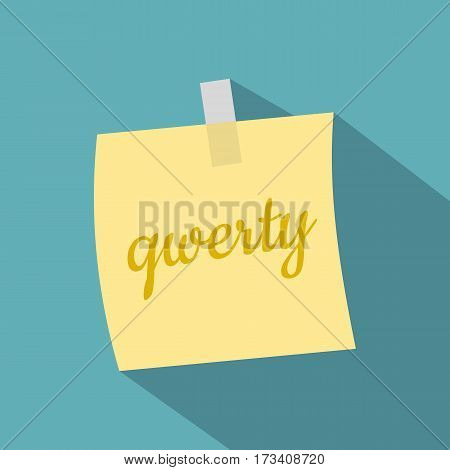 Yellow sheet of paper for notes icon. Flat illustration of yellow sheet of paper for notes vector icon for web isolated on baby blue background