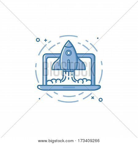 Vector stock illustration of blue colors rocket ship launch icon in filled outline style. Graphic design concept of business project start up, development process, launching product, service.