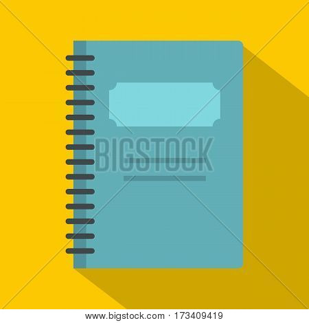Blue closed spiral notebook icon. Flat illustration of blue closed spiral notebook vector icon for web isolated on yellow background