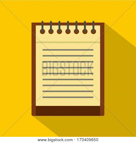 Clean lined sheet of notepad icon. Flat illustration of clean lined sheet of notepad vector icon for web isolated on yellow background