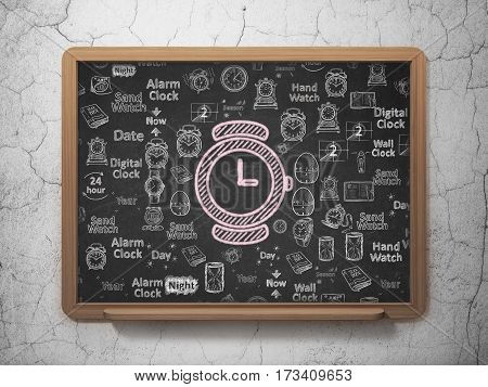 Time concept: Chalk Pink Hand Watch icon on School board background with  Hand Drawing Time Icons, 3D Rendering