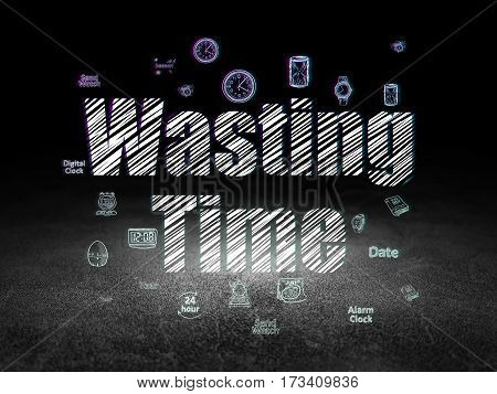 Time concept: Glowing text Wasting Time,  Hand Drawing Time Icons in grunge dark room with Dirty Floor, black background