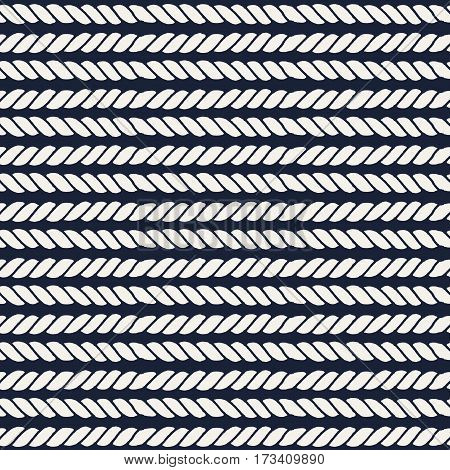 Marine rope line seamless pattern. Endless navy illustration with beige rope ornament, horizontal cord strokes on dark blue background. Trendy textured backdrop. Vector for fabric, wallpaper, wrapping