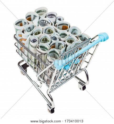 Shopping Trolley With Dollar Banknotes Isolated