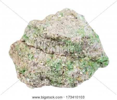 Green Pintadoite Crystals On Sandstone Stone