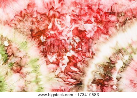 textile background - abstract pink and green drawing hand painted in cold nodular batik technique on white silk fabric poster