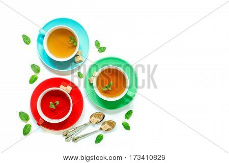Tea Collection Of Three Different Types Of Tea - Mint, Hibiscus And Herbal Tea In Cups Isolated On W