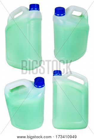 Set From Plastic Jerrycans With Green Liquid