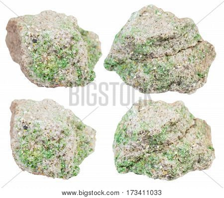 Set Of Rock Pieces With Pintadoite Crystals