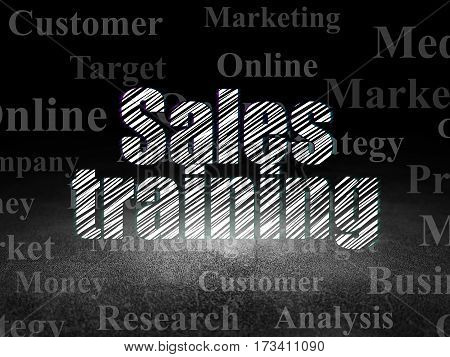 Marketing concept: Glowing text Sales Training in grunge dark room with Dirty Floor, black background with  Tag Cloud