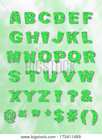Whimsical green Memphis style block font with a bloated look with block shadow.