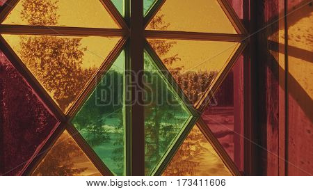 Close up View of Beautiful Stained Glass Window