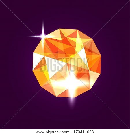 Realistic topaz jewel. Orange gem design illustration.