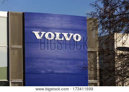 Prague, Czech Republic - February 25: Volvo Car Logo In Front Of Dealership Building On February 25,