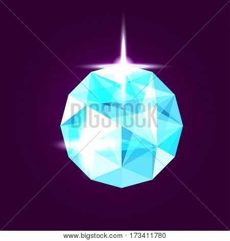 Realistic topaz jewel. Blue gem design illustration.