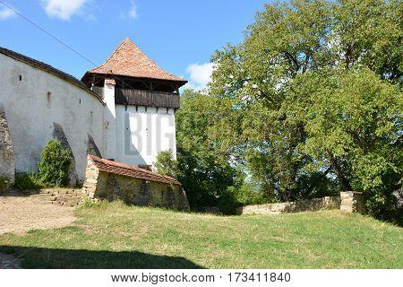 Medieval fortified saxon church in nthe village Viscri, Transylvania, Romania.