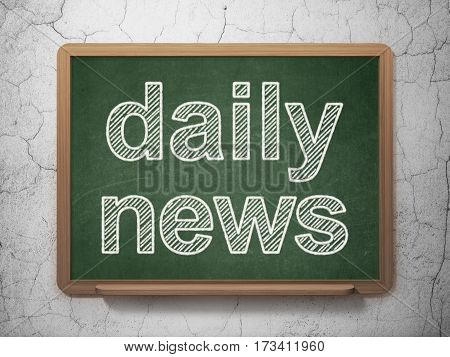 News concept: text Daily News on Green chalkboard on grunge wall background, 3D rendering